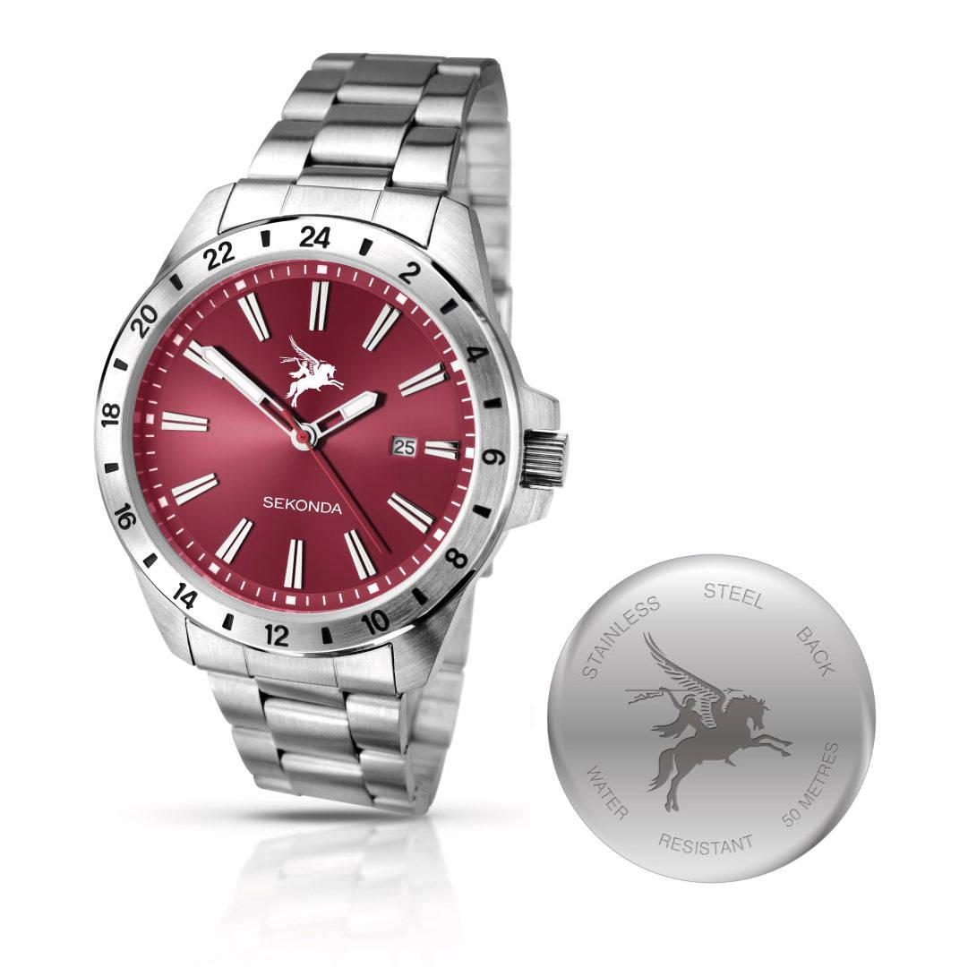 Stainless Steel Pegasus Watch with Silvered Metal Bracelet