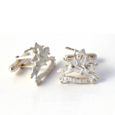 Sterling Silver Pegasus Airborne Bar Cufflinks
