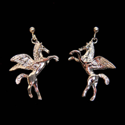 Sterling Silver Pegasus Drop Earrings