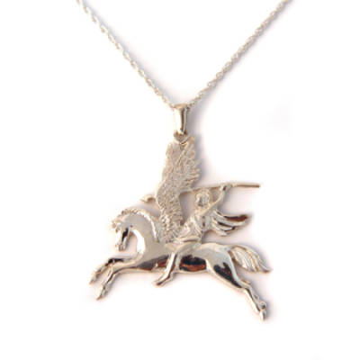 Sterling Silver Pegasus Pendant on Chain (Large)