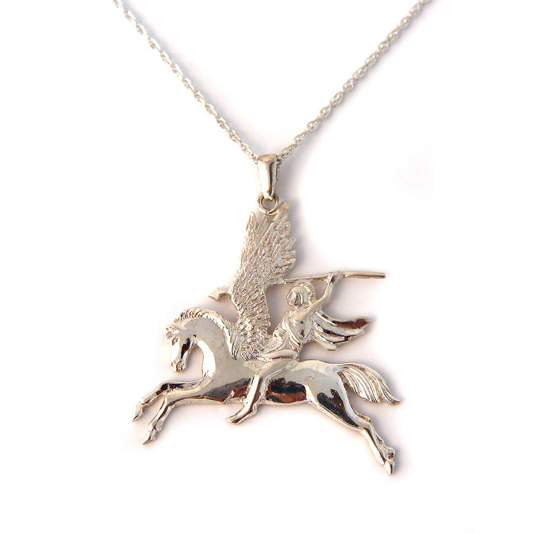 Sterling Silver Pegasus Pendant On Chain Large The