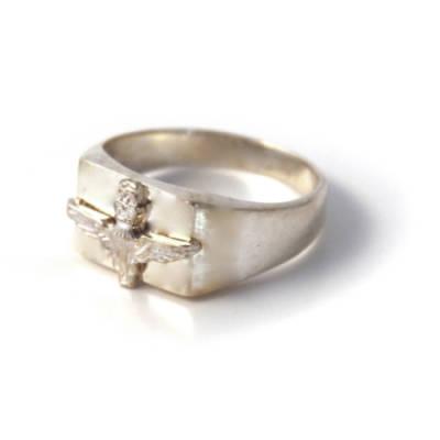Sterling Silver Rectangular Parachute Regiment Ring (3)
