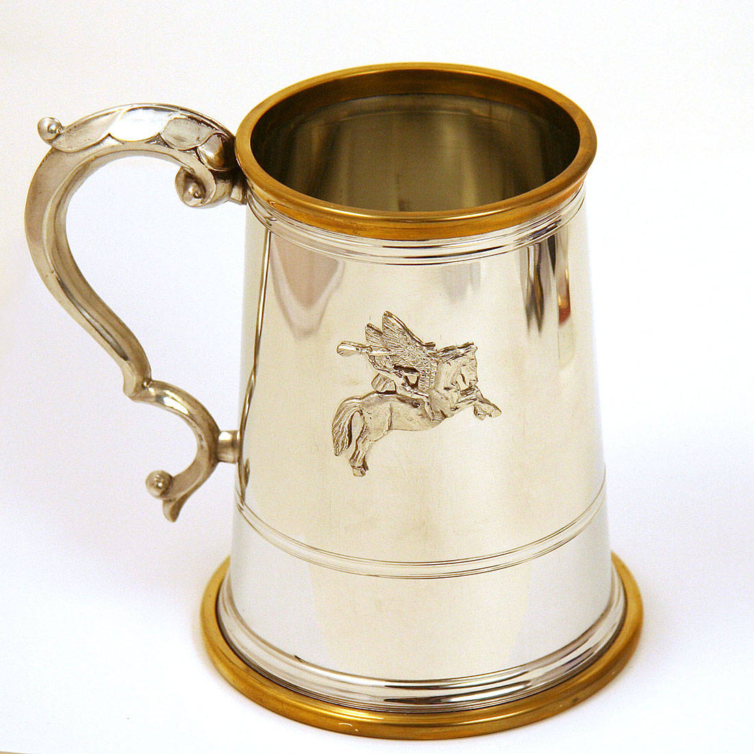 Pewter Tankard with Glass Bottom