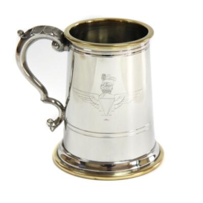 Pewter Tankard with Glass Bottom, Engraved - Parachute Regiment