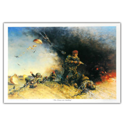 Paras Are Landing by Terence Cuneo, Large Size (Print)