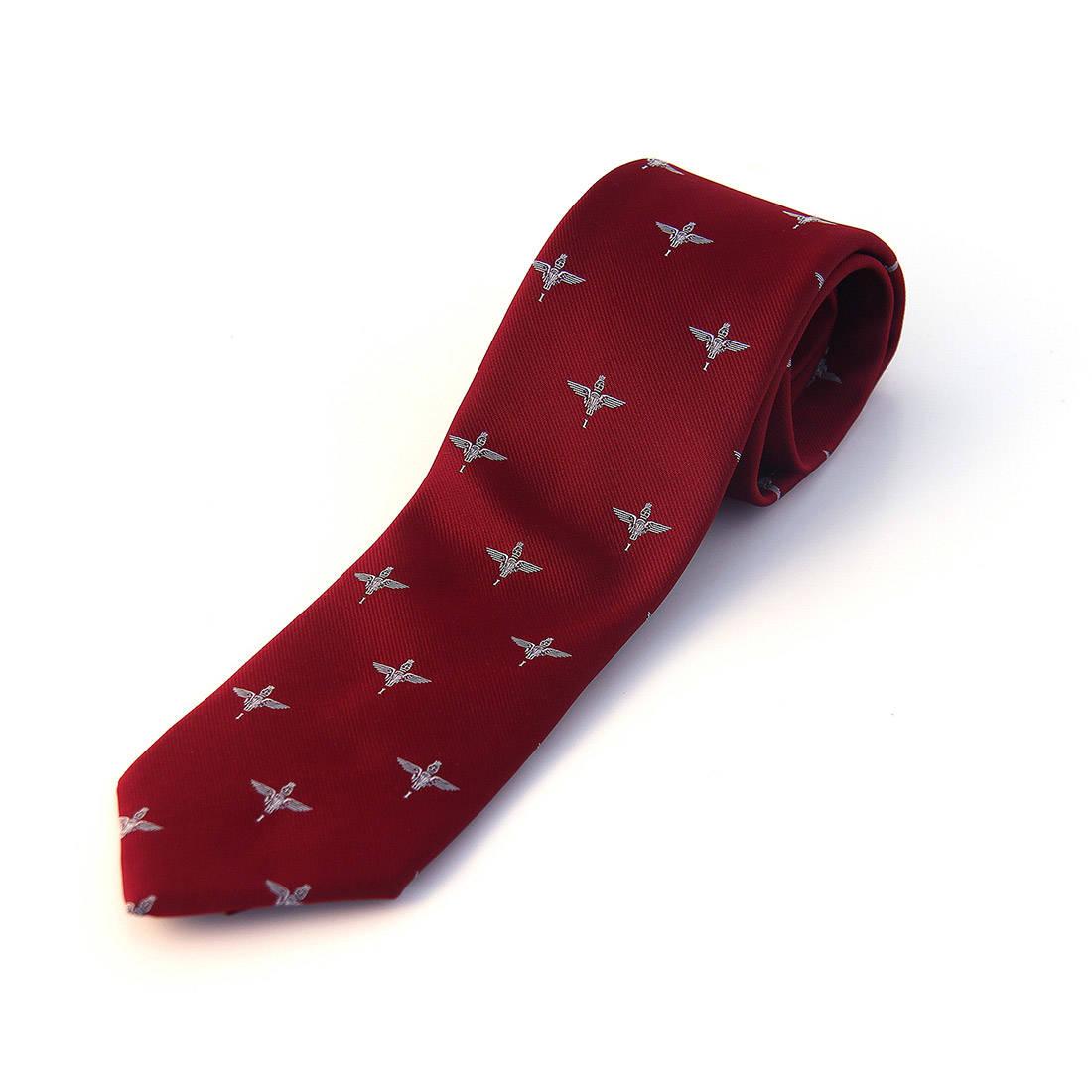 Tie, 1 Para Cap Badge on Maroon (Polyester)