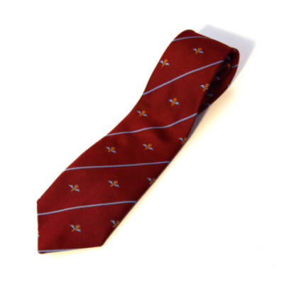 Tie, 23 PFA on Maroon with Blue Stripes (Polyester)