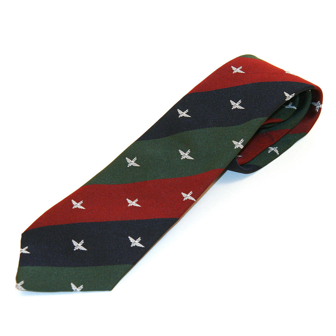 Tie, Para on Maroon, Blue & Green Stripes (Polyester)