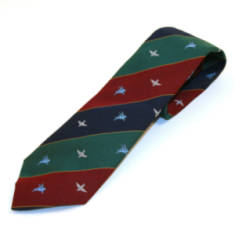 Tie, Para & Pegasus on Maroon, Blue & Green Stripes with Thin Gold Lines (Polyester)