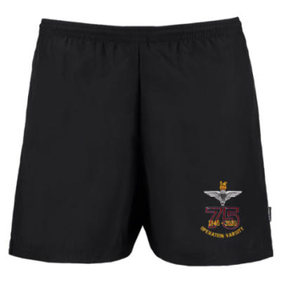 Track Shorts - Black - Operation Varsity 75th (Para)