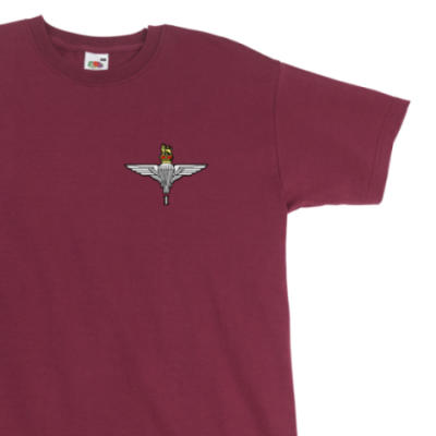 T-Shirt - Maroon - 1 Para Cap-Badge (Print)