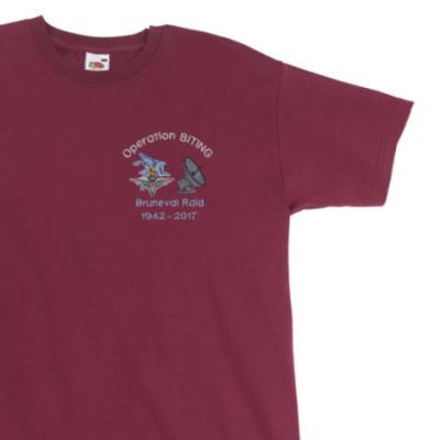 T-Shirt - Maroon - Bruneval Raid (Operation Biting) 75th