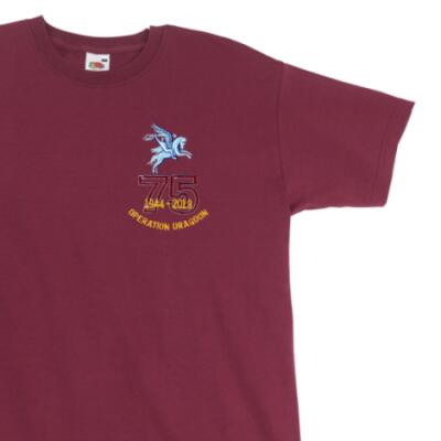 T-Shirt - Maroon - Operation Dragoon 75th (Pegasus)