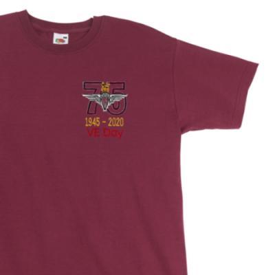 T-Shirt - Maroon - VE Day 75th (Para)