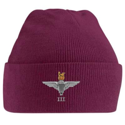 Turn-Up Beanie Hat - Maroon - 3 Para Cap-Badge