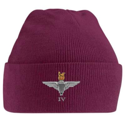 Turn-Up Beanie Hat - Maroon - 4 Para Cap-Badge