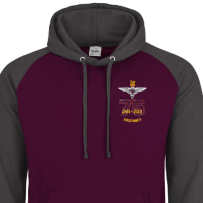 Two-Tone Hoody - Maroon / Grey - Ardennes 75th (Para)