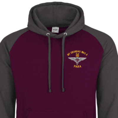 Two-Tone Hoody - Maroon / Grey - My Grandad Was A Para (Para)