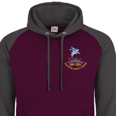 Two-Tone Hoody - Maroon / Grey - Operation Market Garden 75th (Pegasus)