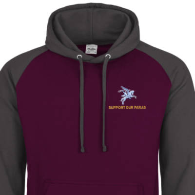 Two-Tone Hoody - Maroon / Grey - Support Our Paras (Pegasus)