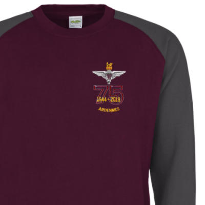 Two-Tone Sweatshirt - Maroon / Grey - Ardennes 75th (Para)