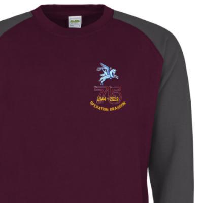 Two-Tone Sweatshirt - Maroon / Grey - Operation Dragoon 75th (Pegasus)