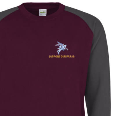 Two-Tone Sweatshirt - Maroon / Grey - Support Our Paras (Pegasus)