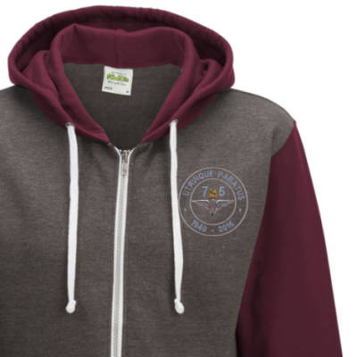 Two-Tone Zip Up Hoody - Maroon - Airborne 75 (Para)