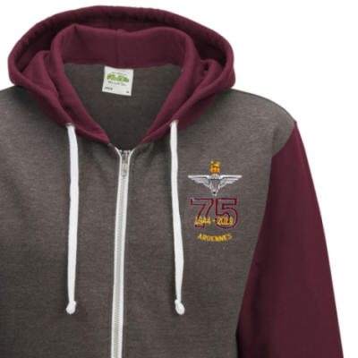 Two-Tone Zip Up Hoody - Maroon - Ardennes 75th (Para)