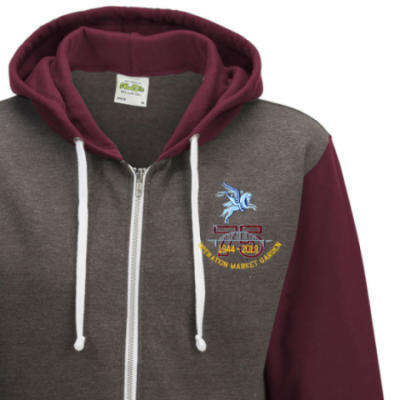 Two-Tone Zip Up Hoody - Maroon - Operation Market Garden 75th (Pegasus)