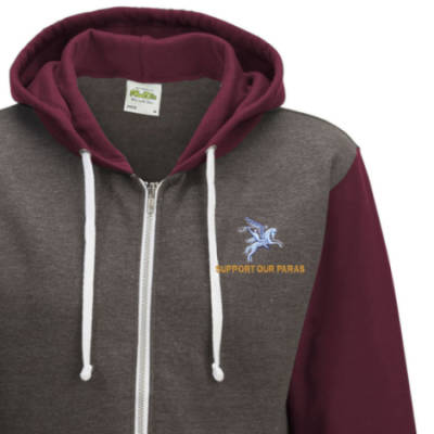 Two-Tone Zip Up Hoody - Maroon - Support Our Paras (Pegasus)