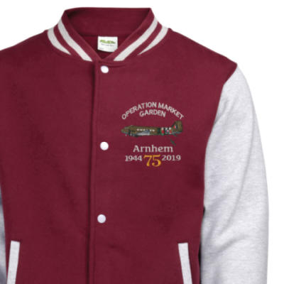 Varsity Jacket - Maroon / Grey - Arnhem Dakota 75th