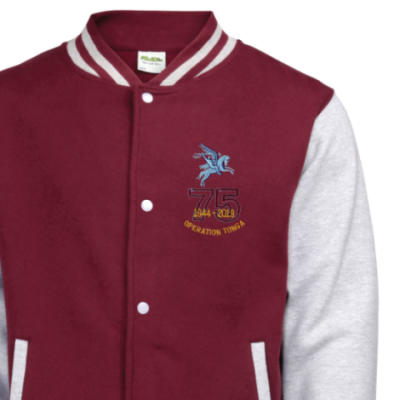 Varsity Jacket - Maroon / Grey - Operation Tonga 75th (Pegasus)