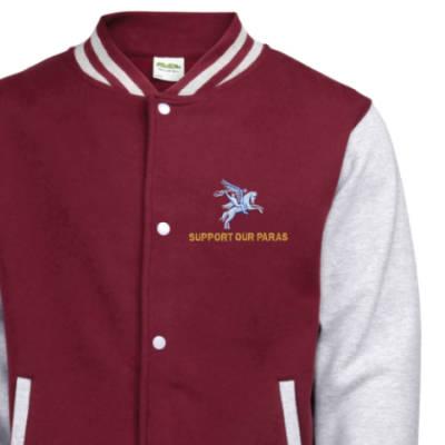 Varsity Jacket - Maroon / Grey - Support Our Paras (Pegasus)
