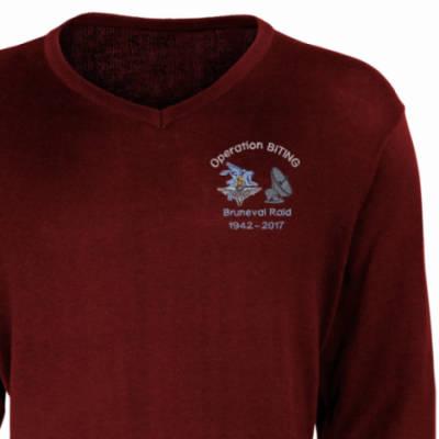 V-Neck Pullover / Sweater - Maroon - Bruneval Raid (Operation Biting) 75th