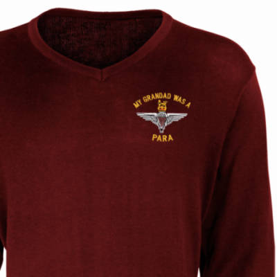 V-Neck Pullover / Sweater - Maroon - My Grandad Was A Para (Para)