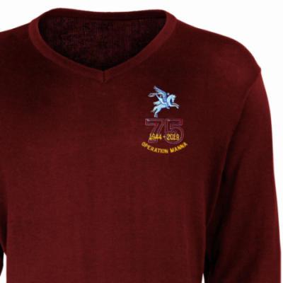 V-Neck Pullover / Sweater - Maroon - Operation Manna 75th (Pegasus)
