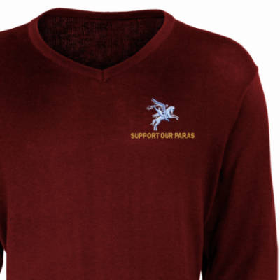 V-Neck Pullover / Sweater - Maroon - Support Our Paras (Pegasus)