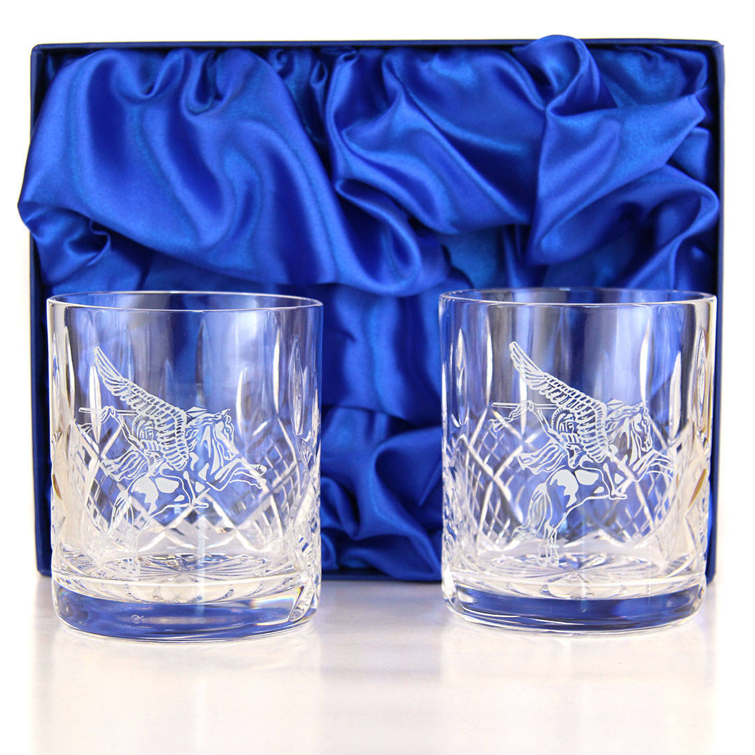 Panel Cut Whisky Glasses (Pair) in Presentation Box