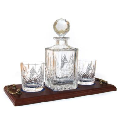 Whisky 3 Piece Serving Tray - Panel Cut Square Decanter and Whisky Glasses (2) - Presentation of Colours 2021