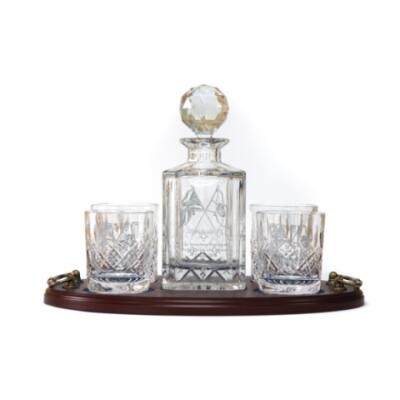 Whisky 5 Piece Serving Tray - Panel Cut Square Decanter and Whisky Glasses (4) - Presentation of Colours 2021