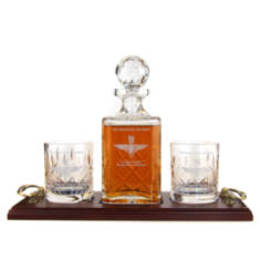 Whisky 3 Piece Serving Tray - Panel Cut Square Decanter and Whisky Glasses (2)