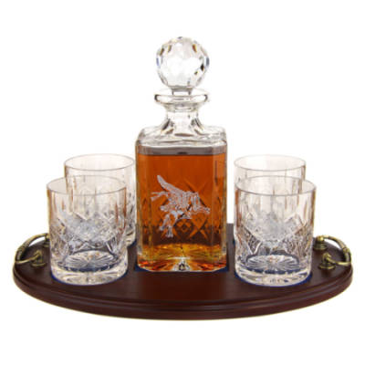 Whisky 5 Piece Serving Tray - Panel Cut Square Decanter and Whisky Glasses (4)
