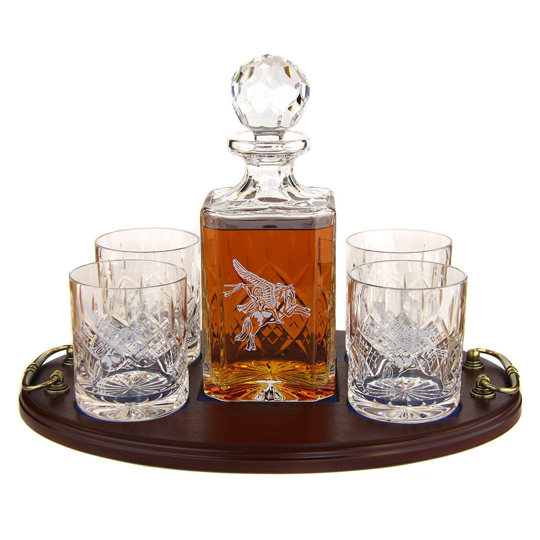 whisky 5 piece serving tray panel cut square decanter and whisky glasses 4 parachute. Black Bedroom Furniture Sets. Home Design Ideas