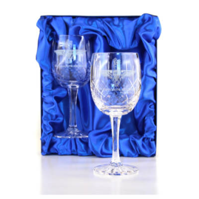 Panel Cut Red Wine Glasses (Pair) in Presentation Box