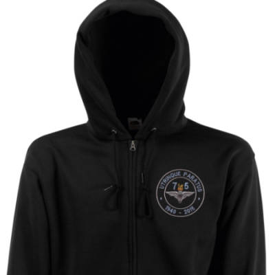 Zip Up Hoody - Black - Airborne 75 (Para)