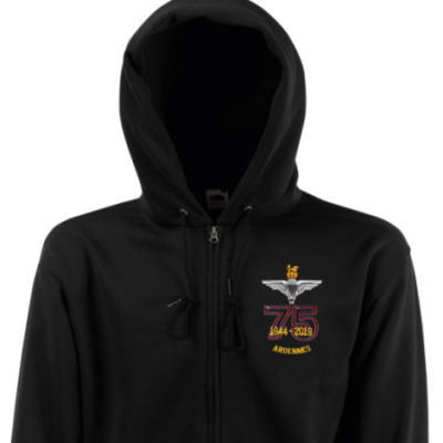 Zip Up Hoody - Black - Ardennes 75th (Para)