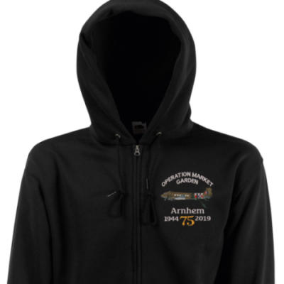 Zip Up Hoody - Black - Arnhem Dakota 75th