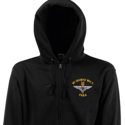 Zip Up Hoody - Black - My Grandad Was A Para (Para)