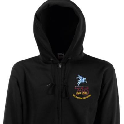 Zip Up Hoody - Black - Operation Dragoon 75th (Pegasus)